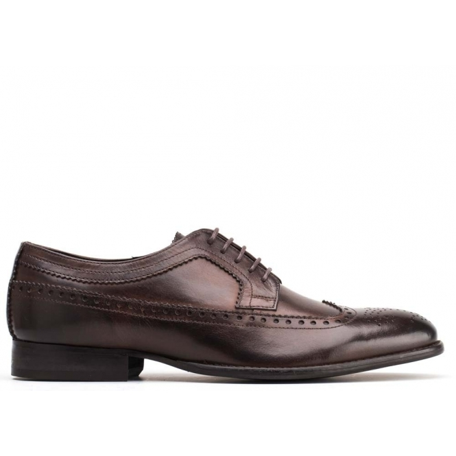 Base London BAILEY Mens Leather Derby Lace Up Shoes Brown