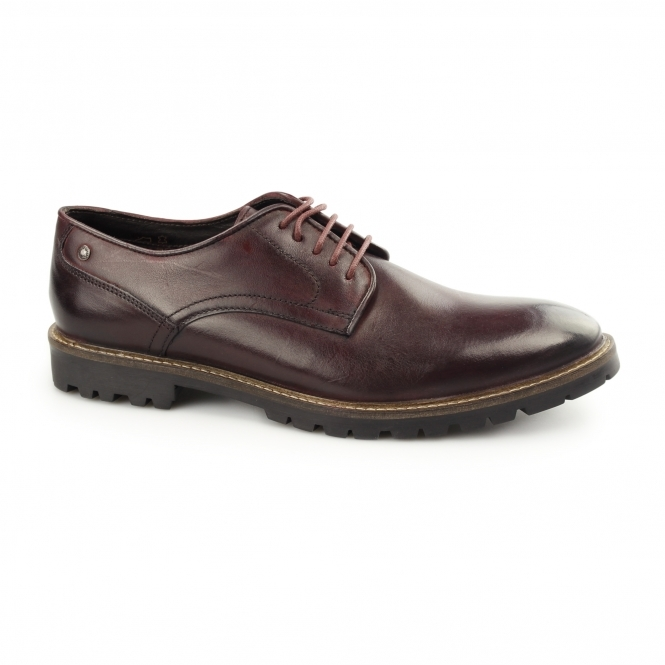 BARRAGE Mens Washed Leather Derby Shoes Bordeaux