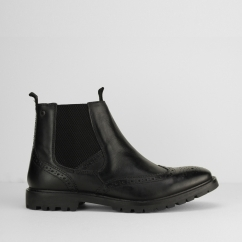 Base London BOSWORTH Mens Leather Chelsea Boots Black