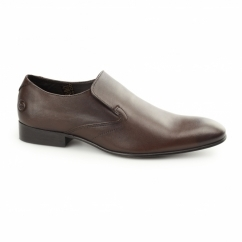 Base London CAPTITAL SOFTY Mens Leather Slip On Shoes Brown