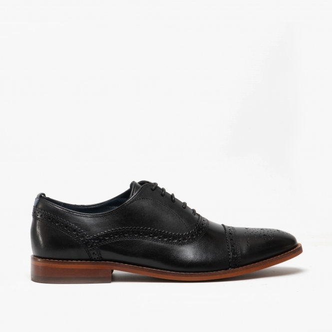 Base London Cast Black Leather Mens Brogues Formal Shoes