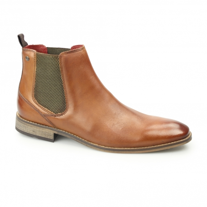Base London Cheshire Mens Washed Leather Chelsea Boots Tan