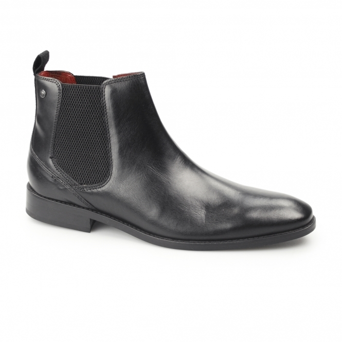 Base London CHESHIRE Mens Waxy Leather Chelsea Boots Black
