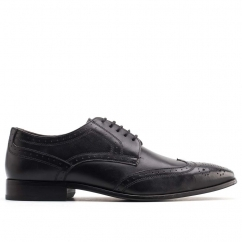 Base London CROWN BROGUE Mens Leather Lace Up Derby Shoes Black