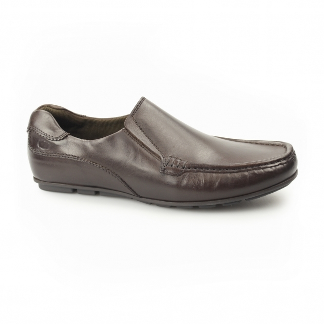 CUBA Mens Leather Moccasin Loafers Brown