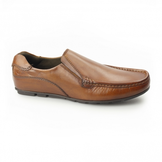 CUBA Mens Leather Moccasin Loafers Tan