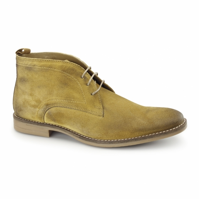 Base London DORE Mens Dirty Suede Leather Desert Boots Mustard