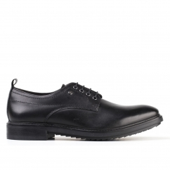 Base London ELBA Mens Leather Lace Up Derby Shoes Black