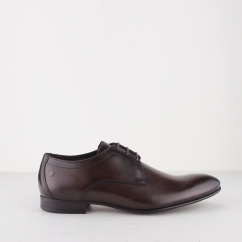 Base London ELGAR Mens Waxy Leather Lace Up Derby Shoes Brown