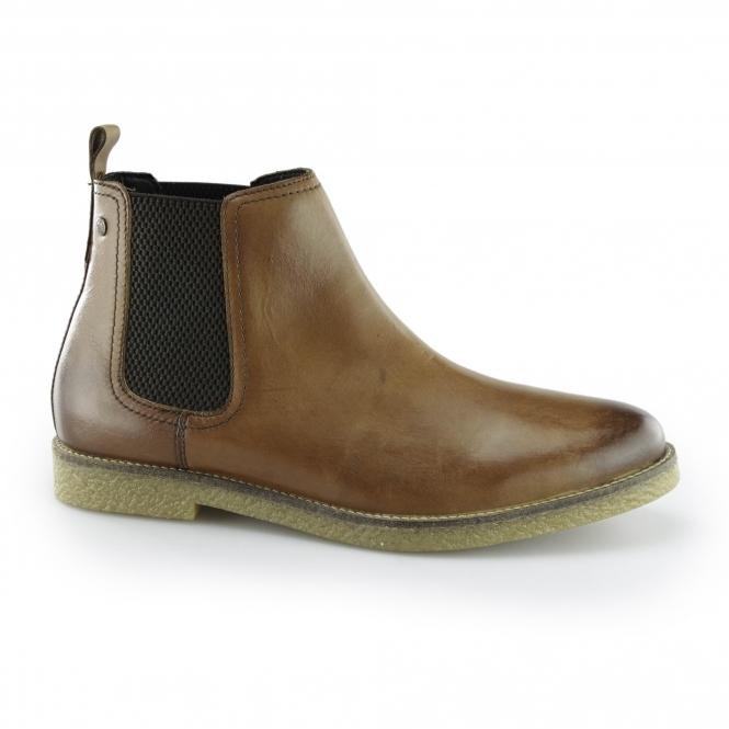 FERDINAND Mens Leather Chelsea Boots Washed Tan