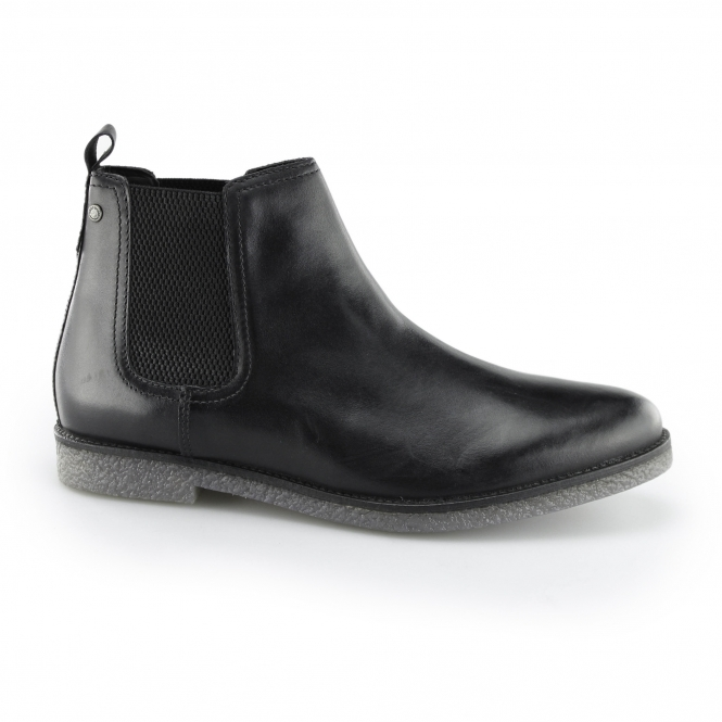 FERDINAND Mens Leather Chelsea Boots Waxed Black