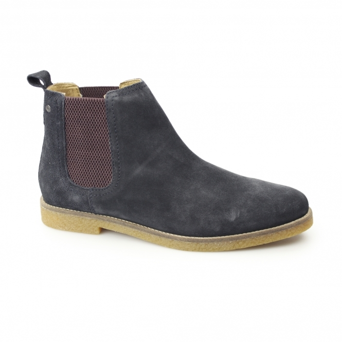 Base London FERDINAND Mens Suede Chelsea Boots Navy