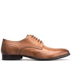 Base London FORD Mens Burnished Leather Lace Up Derby Shoes Brown