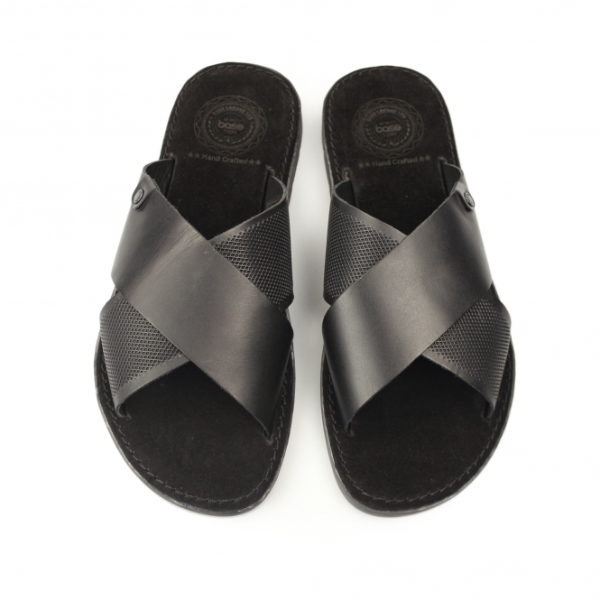 84622fa7b95 HECTOR Mens Waxy Leather Sandals Black
