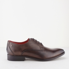 Base London IVY Mens Burnished Leather Derby Shoes Cocoa