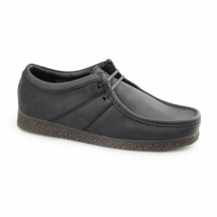 Base London LEGACY PULL UP Mens Leather Moccasin Shoes Black
