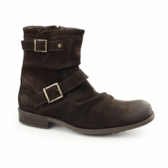 Base London METAL RUSTIC Mens Leather Biker Boots Cocoa