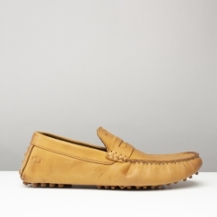 Base London MORGAN OILY Mens Real Leather Moccasin Shoes Tan