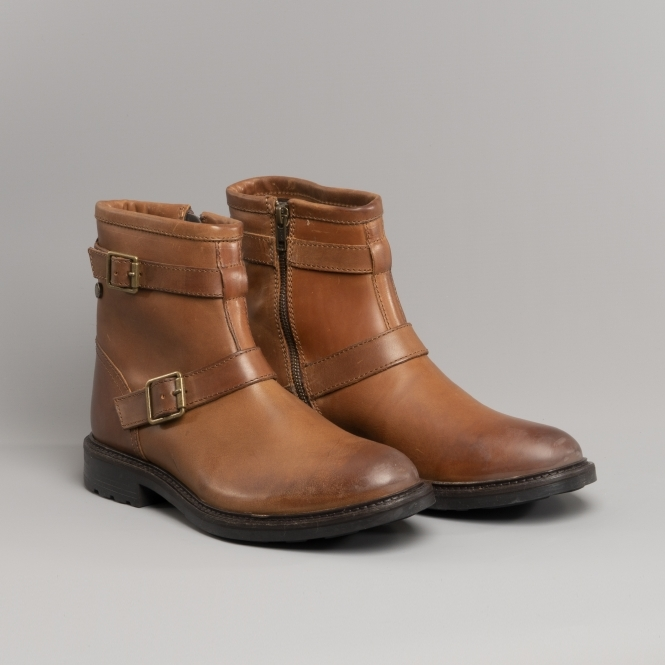 f943bba506f ORTIZ Mens Leather Buckle Boots Burnished Tan
