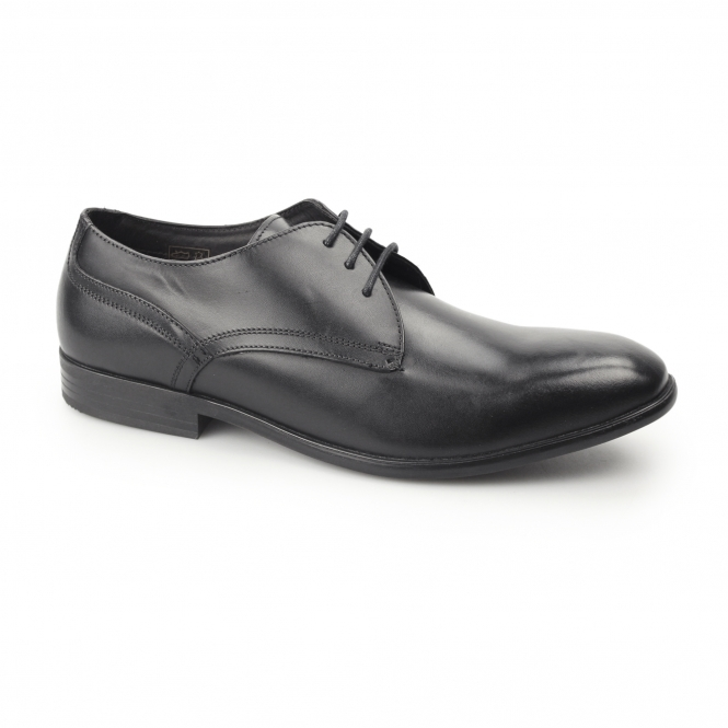 PAGE Mens Waxy Leather Plain Derby Shoes Black