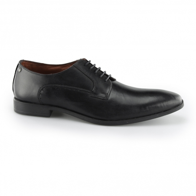 PENNY Mens Leather Derby Lace Up Shoes Black