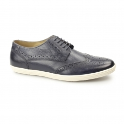 PERFORM Mens Leather Brogue Shoes Snake Navy