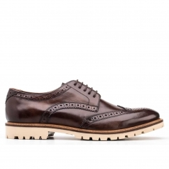 Base London RAID Mens Washed Leather Derby Brogue Shoes Brown