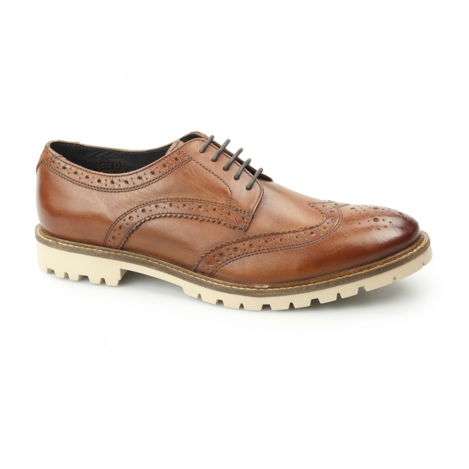 Base London RAID Mens Washed Leather Derby Brogue Shoes Tan