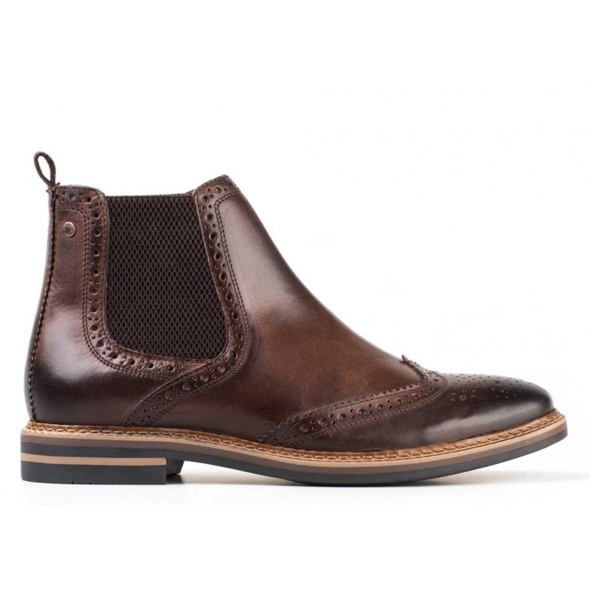 base mens leather brogue chelsea boots cocoa