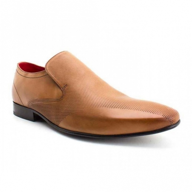 Base London Tan Leather Slip On Shoes