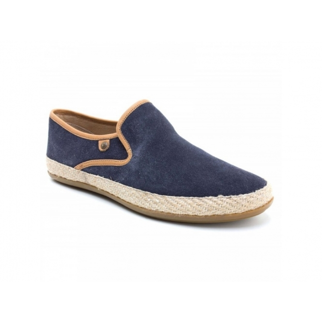 Base London SOUND Mens Suede Leather Espadrille Loafers Blue