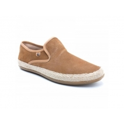 Base London SOUND Mens Suede Slip On Espadrille Shoes Tan