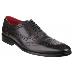 Base London SURREY Mens Washed Leather Brogue Shoes Grey