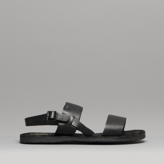 844450726 Base London TITAS Mens Leather Sandals Black | Shuperb