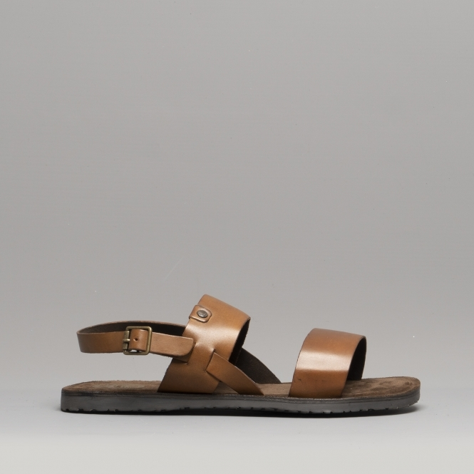 0b8ad441cfe8 Base London TITAS Mens Leather Sandals Tan