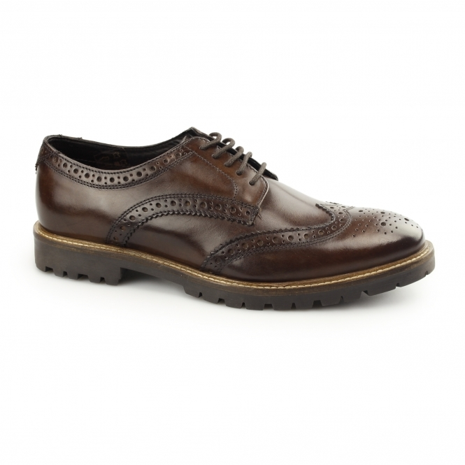 Base London TRENCH Mens Washed Leather Brogue Shoes Brown