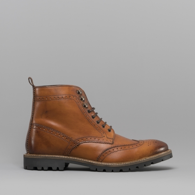 Base London Troop Mens Leather Derby Boots Tan Shuperb