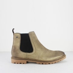 Base London TURRET Mens Suede Chelsea Boots Taupe