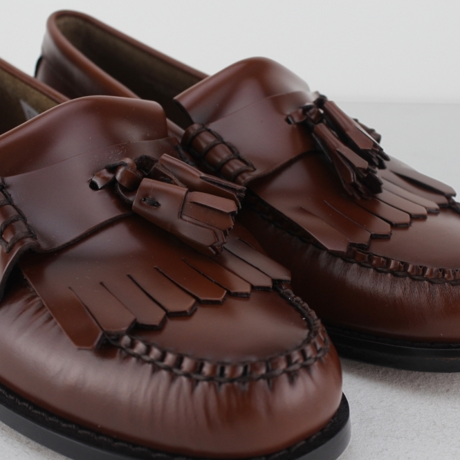 8c9f071e84cfb Bass WeeJuns LAYTON Mens Leather Kiltie Fringe Loafers Mid Brown