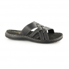 BAY Mens Leather Padded Mule Sandals Black