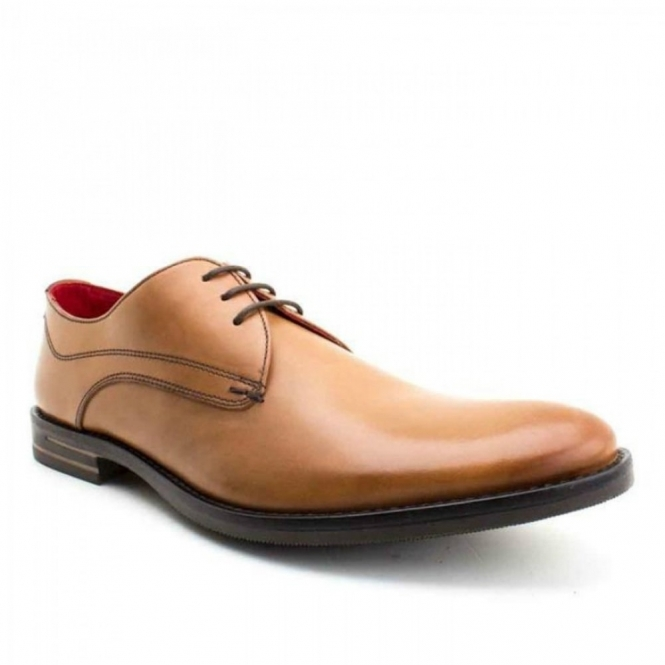 Base London BAYHAM Mens Lace-Up Leather Shoes Waxy Tan