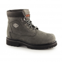 Harley Davidson BAYPORT Ladies Leather Lace Up Ankle Boots Grey