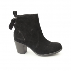BEATRICE MOORLAND Ladies Suede Zip Heel Boots Black