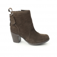 BEATRICE MOORLAND Ladies Suede Zip Heel Boots Chocolate