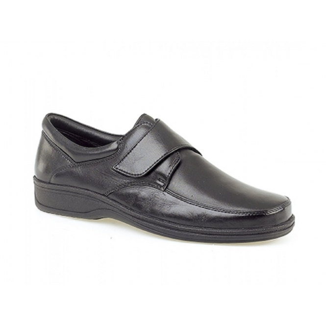 Roamers BECK Mens Leather Wide E Fit Velcro Shoes Black