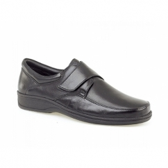 BECK Mens Leather Wide E Fit Velcro Shoes Black