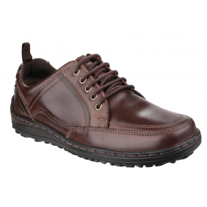 Hush Puppies BELFAST OXFORD Mens Leather Dual Fit Outdoor Shoes Brown
