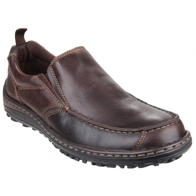Hush Puppies BELFAST SLIP ON MT Mens Casual Leather Dual Fit Outdoor Shoes Brown