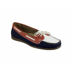 BELGRAVIA Ladies Moccasin Boat Shoes Navy