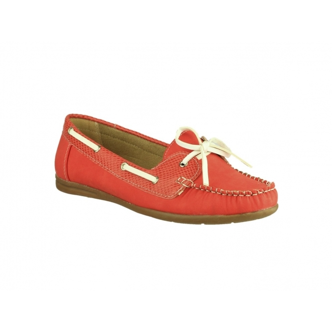 Divaz BELGRAVIA Ladies Moccasin Boat Shoes Red